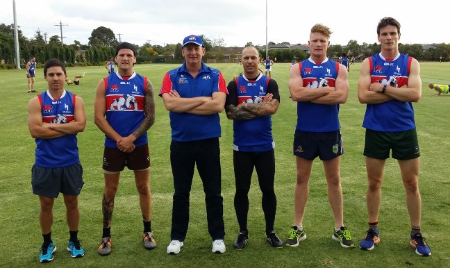 Richard Houston (third from left) at training with new recruits (from left) Jay Ting, Nick Hogan, Justin Berry, Nick Shannon and Josh Verlin.