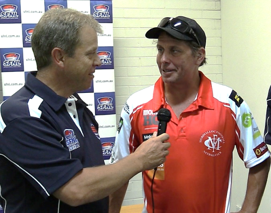 Mordialloc coach Jason Chapple chats to SFNL TV host Ian 'Wiz' Dougherty at the recent SFNL Media Day.