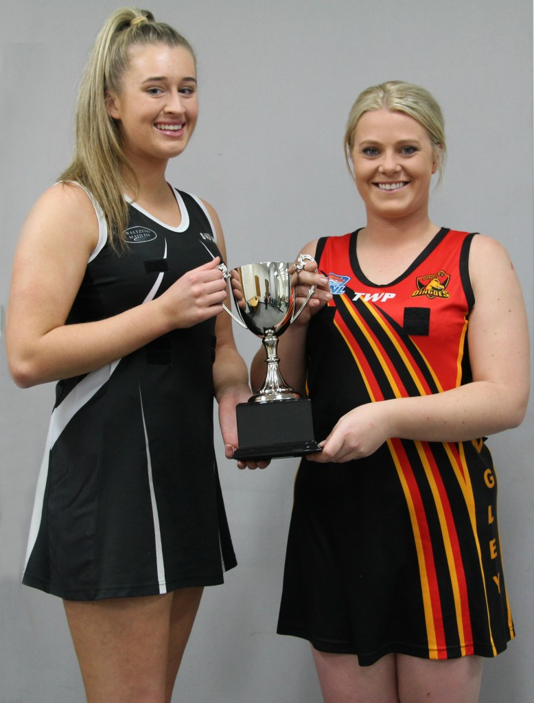Heatherton skipper Alex Riddell and Dingley captain Kasey Blizzard.