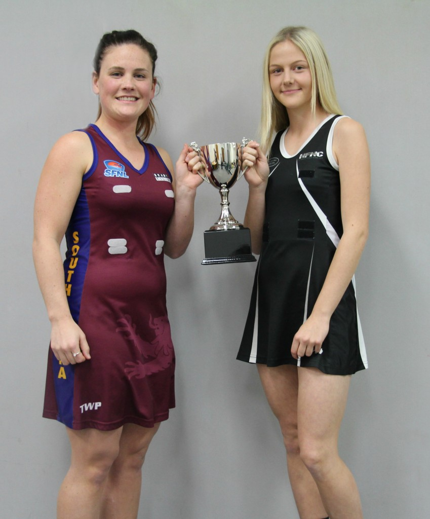 South Yarra's Maggie Riley and HEatherton vice-captain Chelsey McAndrew.