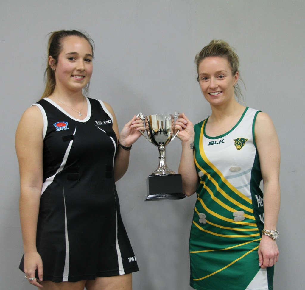 Heatherton captain Olivia Clark and Mount Waverley's Shana Jowett.
