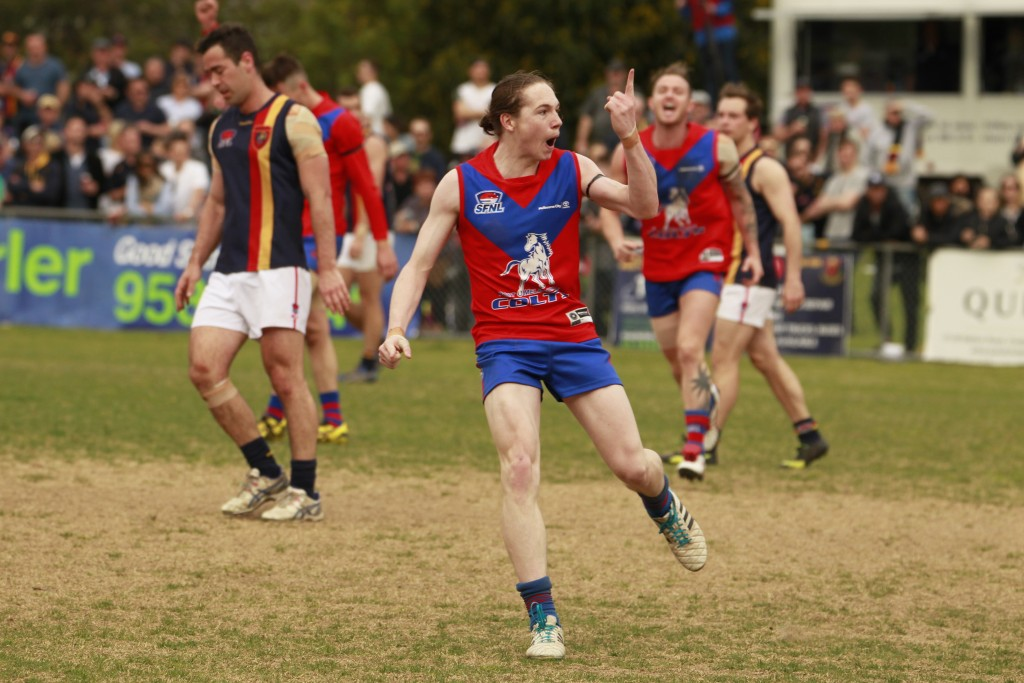 Colts live wire Mitch Clark celebrates one of his three goals. CREDIT: Everard Fenton, Memento Sports