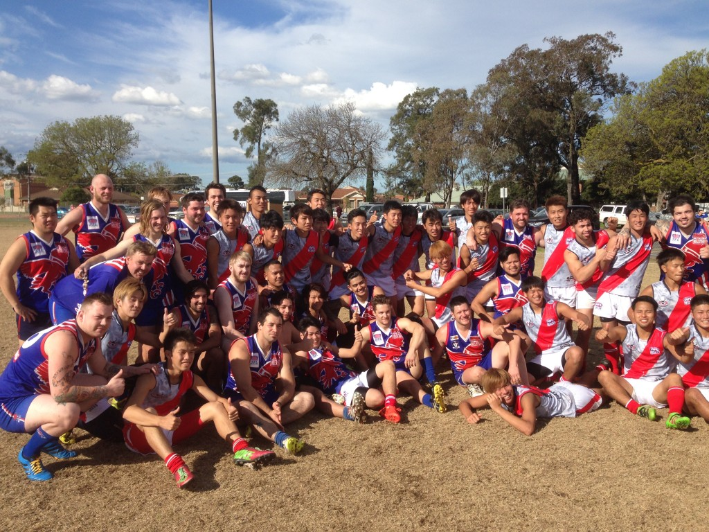 The Warriors and the Burras are all smiles after their match at Keysborough.