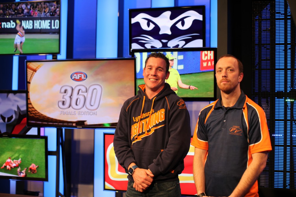 Lyndhurst coaches Paddy Cooke and *** on the set of AFL 360.