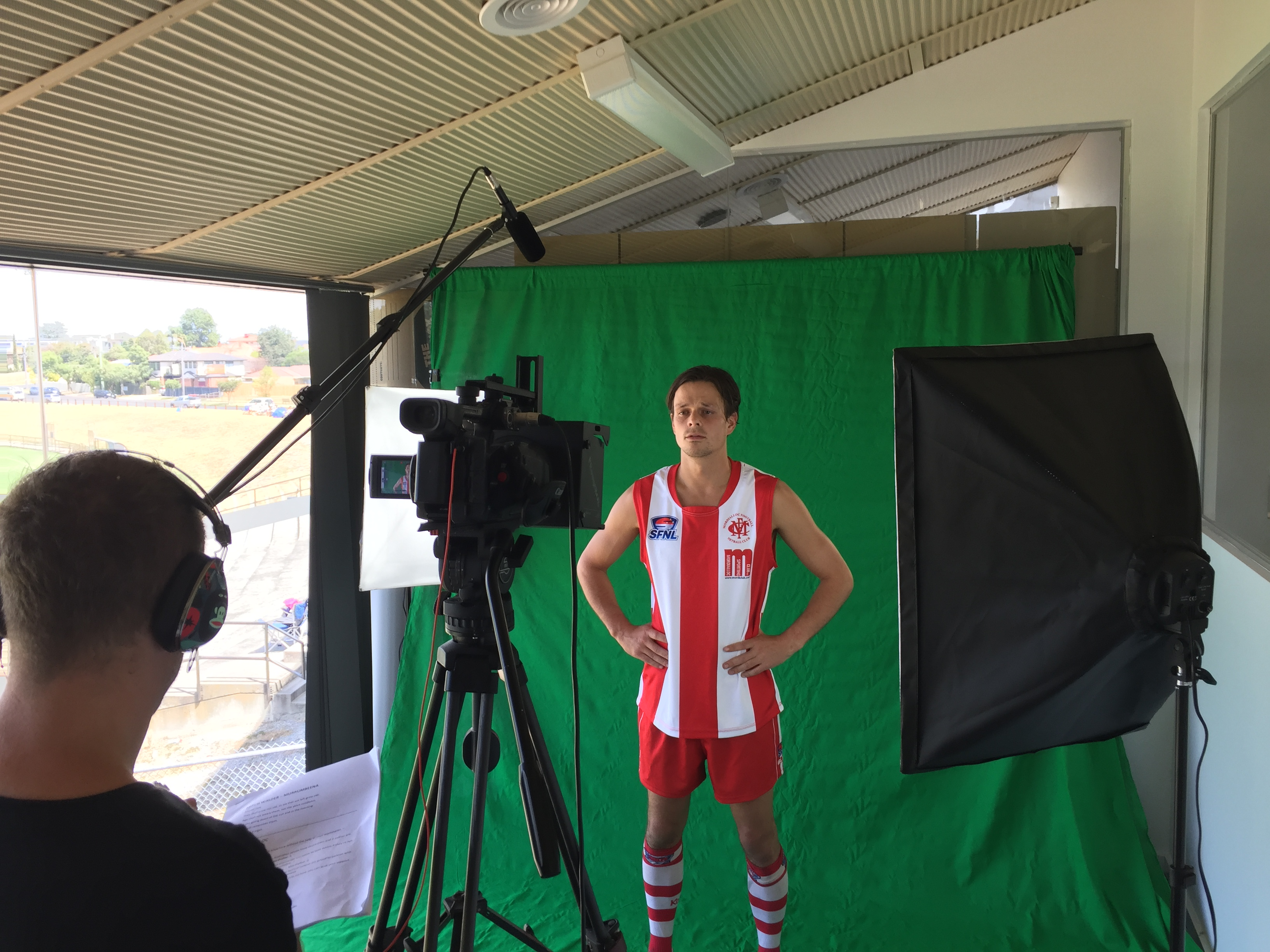 Mordialloc's Carey Neville fronts the camera at the SFNL Media Day in MArch.