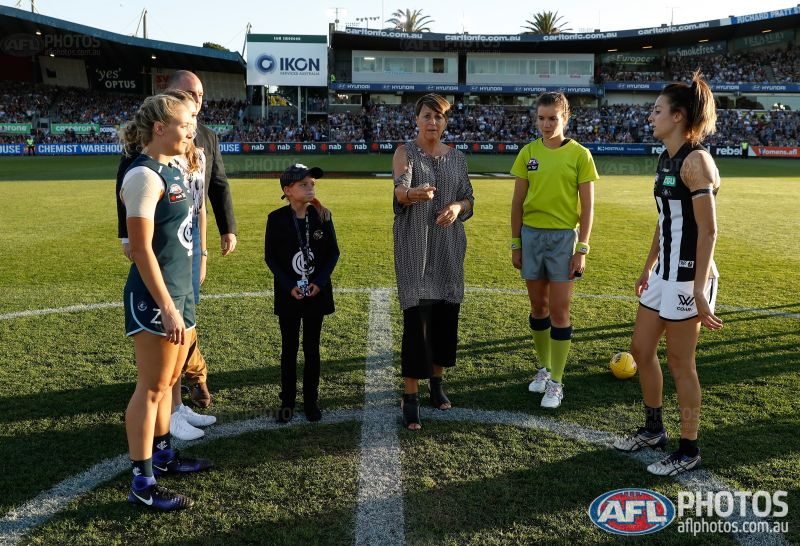 Former SFNL umpire Annie Mirabile officiated the very first AFLW match in front of a full house at Ikon Park on Friday night. PICTURE: Michael Wilson, AFL Media
