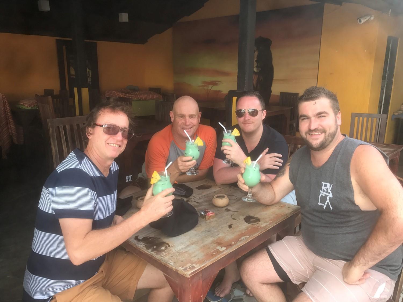 (From left) Mark Bassett, Troy Beard, Jason Bird and Jay Cavanagh enjoy a cool beverage.