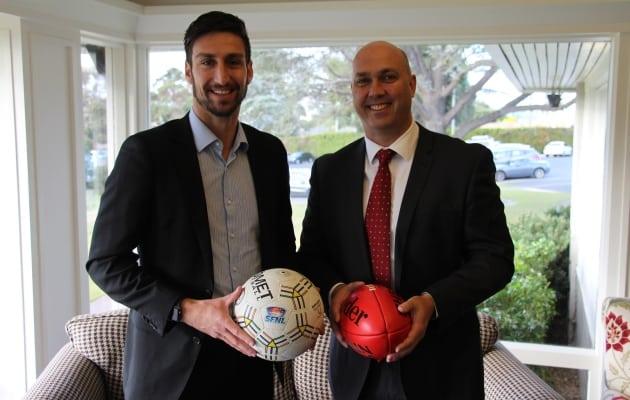 SFNL CEO David Cannizzo and Bendigo Bank Dingley Village Director Leigh Menzel