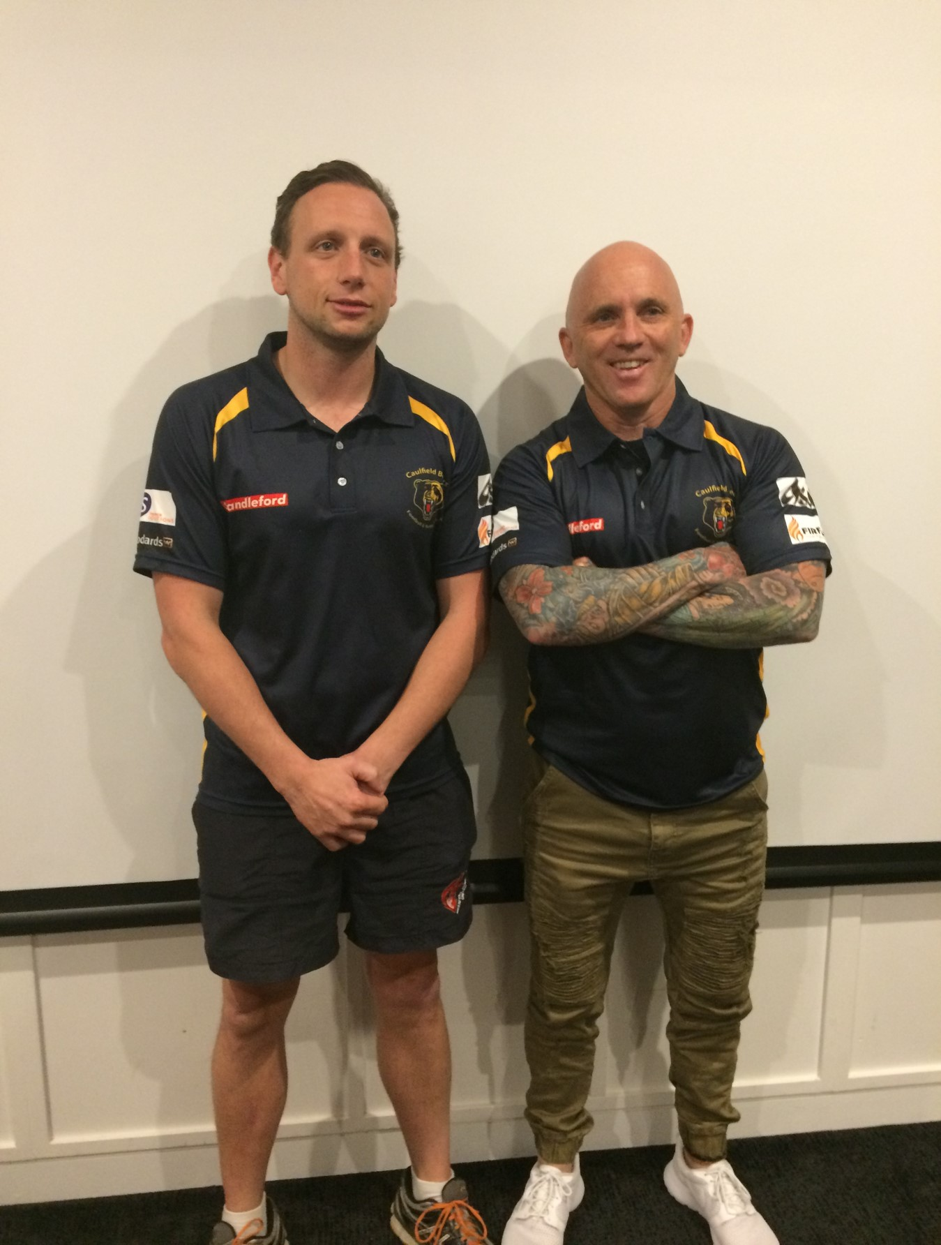 Caulfield Reserves Coach Chris Spencer (left) with newly-appointed Senior Coach Sein Clearihan.