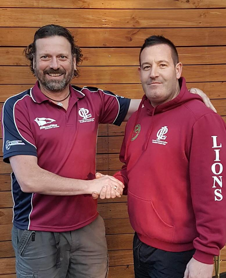 CPL President Mark Bollen and newly-appointed Reserves Coach John Psaras.