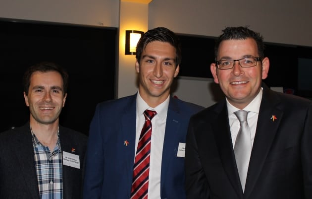 David Cannizzo (centre) with MP Nick Staikos and Victorian Premier Daniel Andrews.