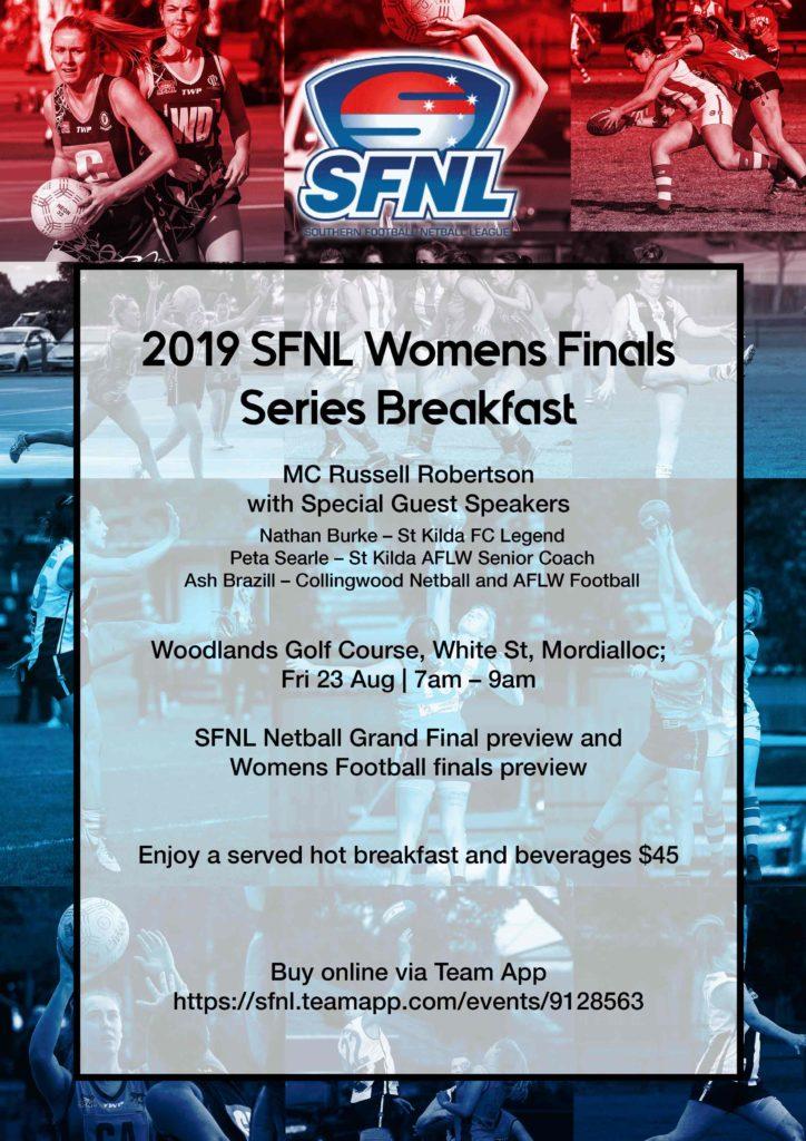 SFNL Womens Grand Final Breakfast 2019